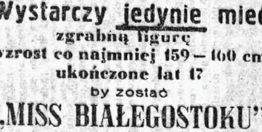 Ogłoszenie o konkursie zamieszczone w Życiu Białostockim.