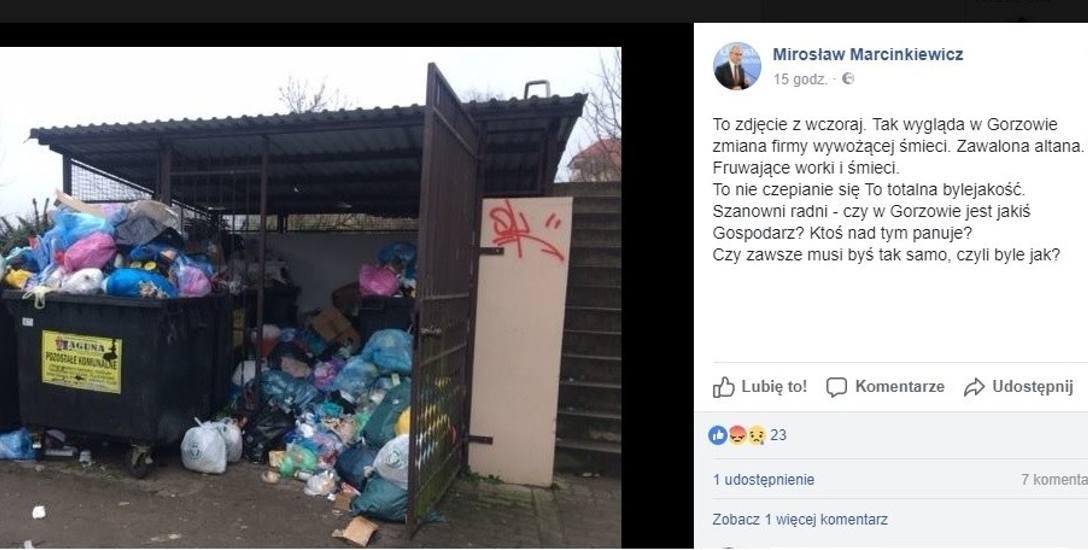 Takie zdjęcie z komentarzem zamieścił na facebooku Mirosław Marcinkiewicz