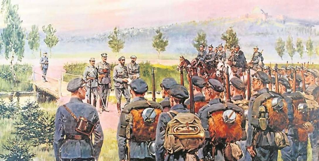 Wymarsz Pierwszej Kompanii Kadrowej z Oleandrów w Krakowie 6 sierpnia 1914 na obrazie Jerzego Kossaka