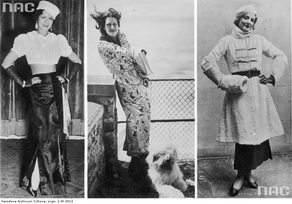 Modelki prezentują różne ubiory. Od lewej: suknia wieczorowa, płaszcz kąpielowy oraz kostium zimowy.