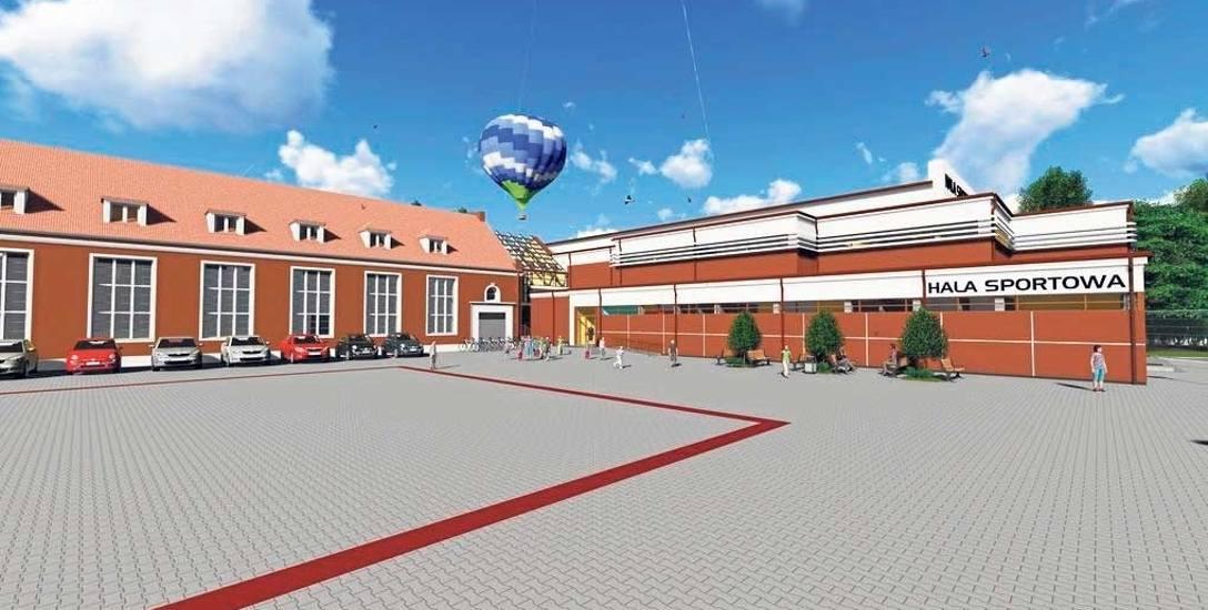 Wizualizacja nowej hali sportowej Szkoły Podstawowej nr 1 w Szczecinku - z prawej, z lewej strony obecna, poniemiecka sala gimnastyczna