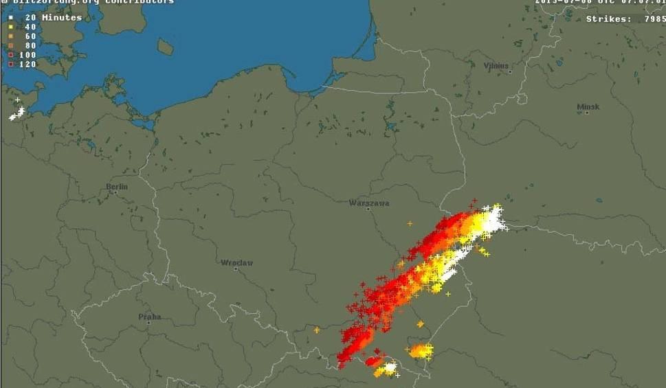 Gdzie Jest Burza Wedlug Radaru Burzowego Online Burza Zbliza Sie Od Poludnia Do Woj