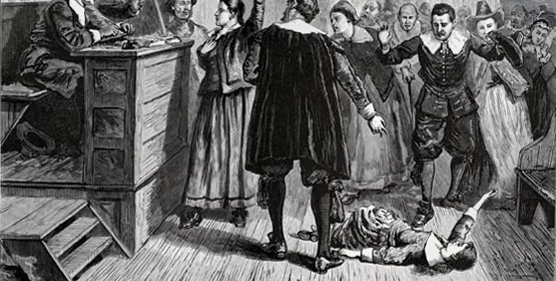 """Przesłuchanie """"opętanej"""" w Salem."""