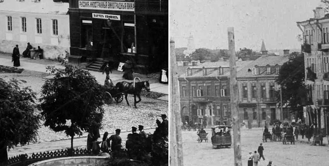 Białystok 1897. Dawny Rynek Kościuszki. Fontanna i ul. Niemiecka