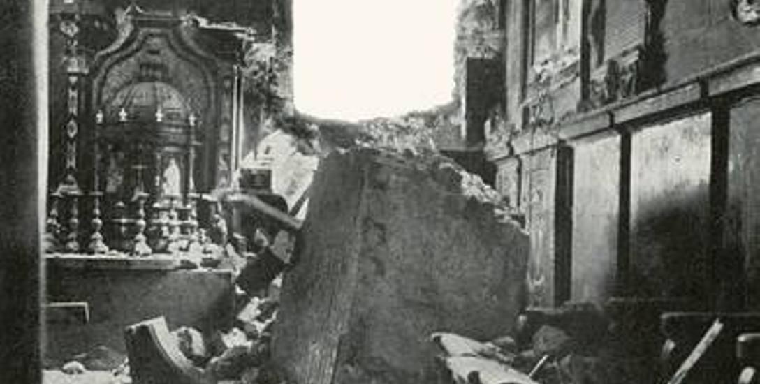 Kaplica Mariacka na Wawelu po zrzuceniu przez sowieckie lotnictwo bomby lotniczej na dziedziniec Stefana Batorego