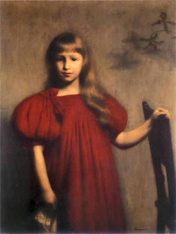 Obraz pędzla Józefa Pankiewicza z roku 1897. Wybitne malowidło, przedstawiające kilkuletnią dziewczynkę o drobnej twarzy i regularnych rysach, rozpuszczonych