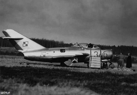 Na takim MiGu uciekł 5 marca 1953 roku na Bornholm słupski pilot Franciszek Jarecki