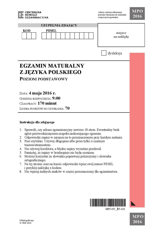 Matura 2016 Język Polski Poziom Podstawowy Odpowiedzi Arkusz Cke