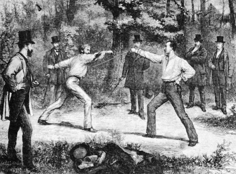 Pojedynek w Lasku Bulońskim ok. 1874 roku