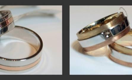 Biało - różowe złoto z rubinami (damska - 1143 zł, męska - 1272 zł) i żółte, białe i różowe złoto z kawowym diamentem (d – 1684 zł, m – 1654 zł).