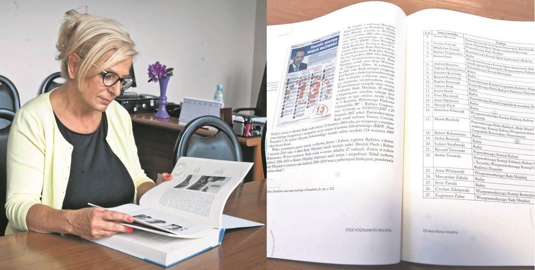 Krystyna Kościńska, przewodnicząca Rady Miejskiej, jako pierwsza zwróciła uwagę na błędy, które pojawiły się w II tomie dziejów Koszalina