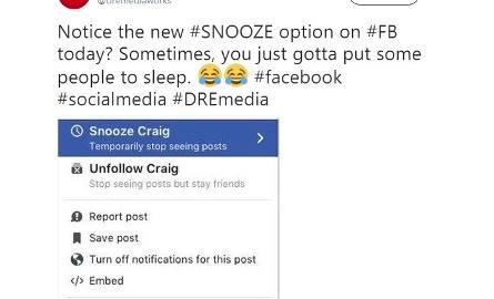 Tak wygląda przycisk z opcją Snooze na Facebooku