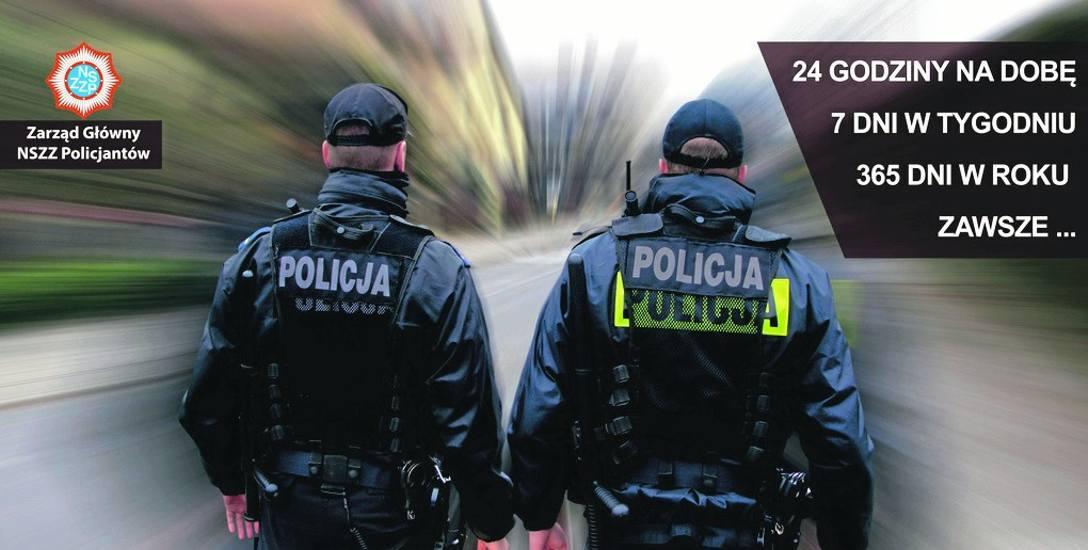 Akcja billboardowa policjantów. Związkowcy: Pełnimy niebezpieczną służbę, a zarobki są na poziomie kasjera w sklepie