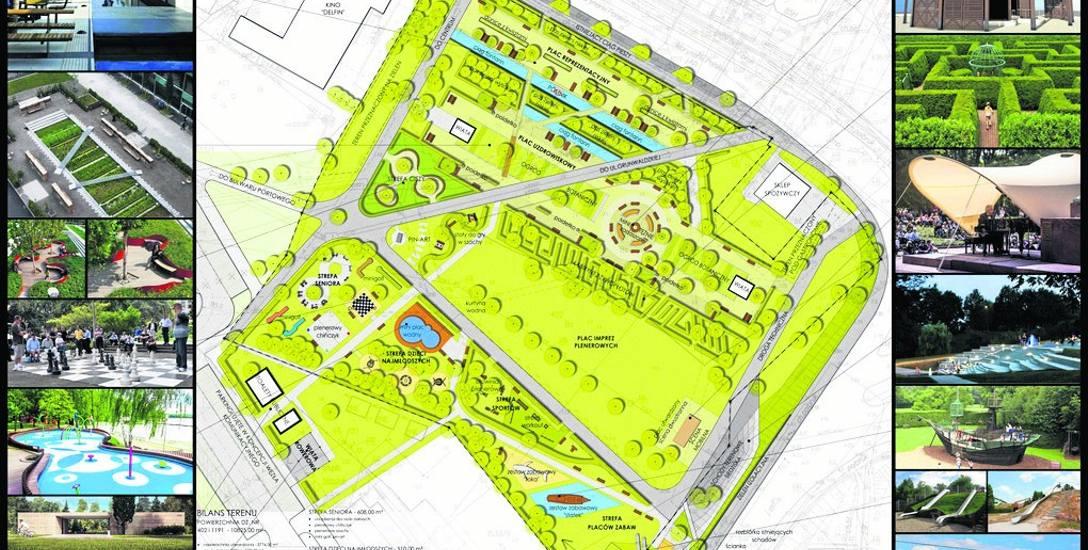 Koncepcja zagospodarowania parku przy ul. Marynarki Polskiej przewiduje miejsca do aktyw-nego wypoczynku oraz dla osób, które przyjdą powdychać leczniczą
