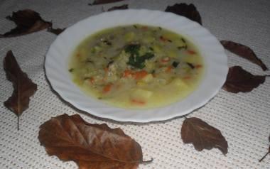 Zupa ogórkowa z kaszą.
