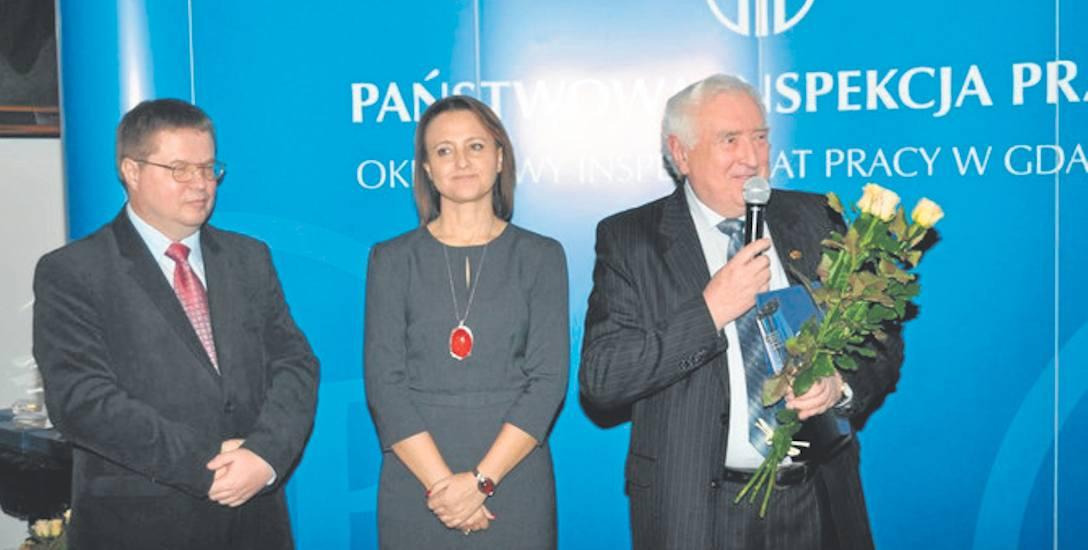 Jan Czechowicz podczas uroczystości  wręczenia nagrody , która odbyła się w Gdańsku.
