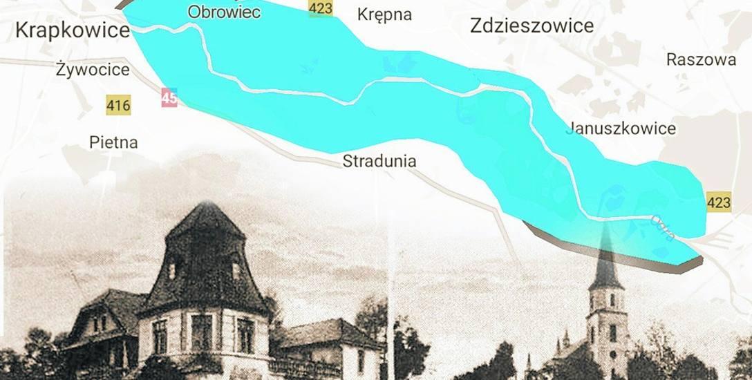 Tak mniej więcej wyglądałoby jezioro, które miało powstać pod Krapkowicami.