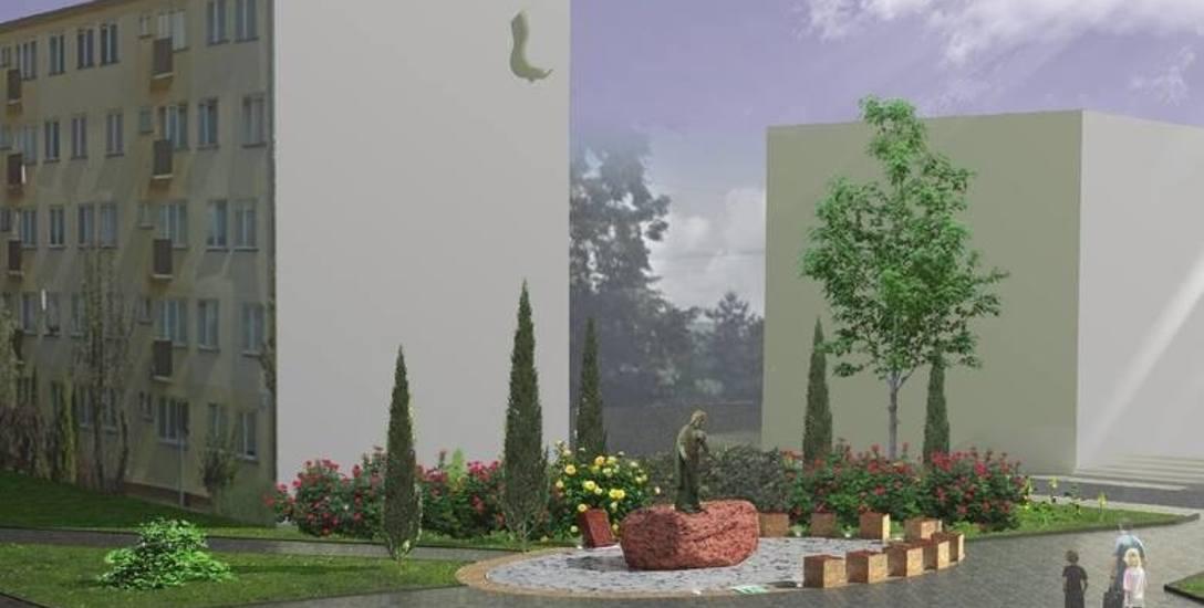 Tak wygląda wizualizacja pomnika Chrystusa Króla. Figura ma stanąć w centrum miasta, w niedalekiej odległości od dwóch sklepów monopolowych, w otoczeniu