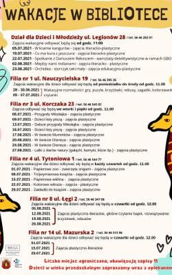 Program zajęć w Bibliotece Miejskiej i jej filiach w Grudziądzu na wakacje 2021 r.