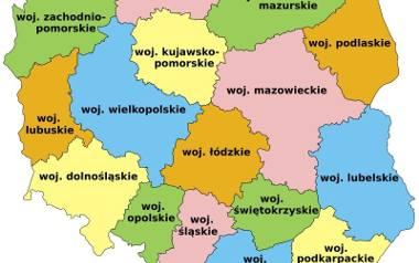 Obecny podział administracyjny kraju. Zmiany wprowadzono w 1999 roku.