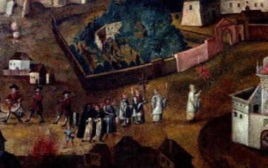 Tłum obserwujący świetlisty cud. W XVII w. ludzie byli przesądni i nietrudno było im uwierzyć w niezwykłe zjawiska