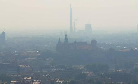 Panorama Krakowa w czasie smogu