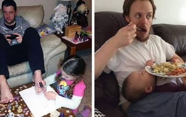 Ojciec sam w domu. Budzi się w nim dziecko, czy jest bohaterem? Te zdjęcia pokazują, jak jest naprawdę