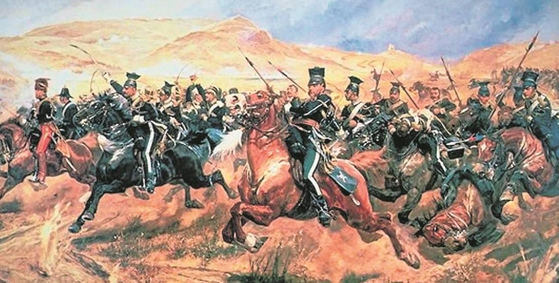 Szarża lekkiej brygady pod Bałakławą, obraz Richarda C. Woodville'a Jr. Brytyjscy lansjerzy noszą ułańskie mundury i rogatywki
