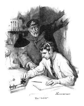 Rysunek z 1912 r. ilustrujący dramatyczną chwilę nadawania sygnału SOS