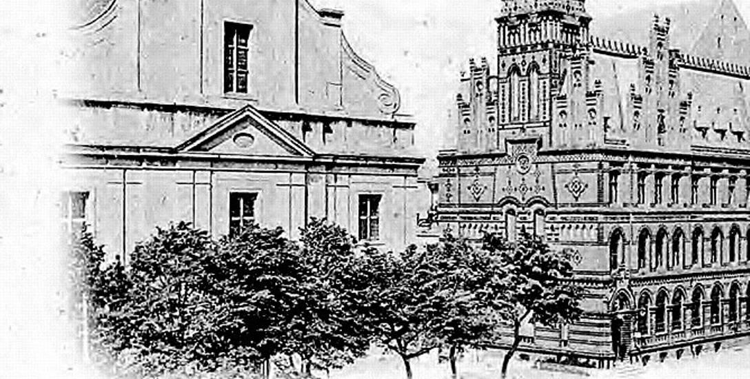Toruńska Poczta Główna z wieżą i kościół świętego ducha bez wieży na zdjęciu wykonanym między 1892 oraz 1897 rokiem