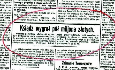 """Tak """"Kurier Bydgoski"""" z 5 września 1935 r. informował o wygranej ks. Pacewicza"""