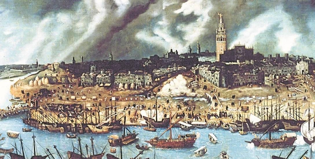 Widok stoczni w Sewilli, w której zbudowano okręty dla Ferdynanda Magellana.
