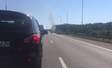 Pożar samochodu na autostradzie A4 w Rudzie Śląskiej