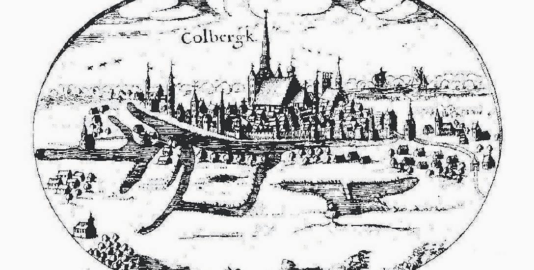 Rycina przedstawiająca Kołobrzeg, umieszczona na marginesie słynnej Wielkiej Mapy Księstwa Pomorskiego. Jednym z symboli miasta jest potężna wieża k