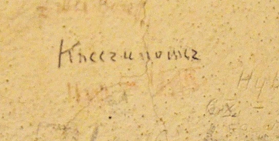 Nazwisko Krzeczunowicz wyryte na ścianie celi