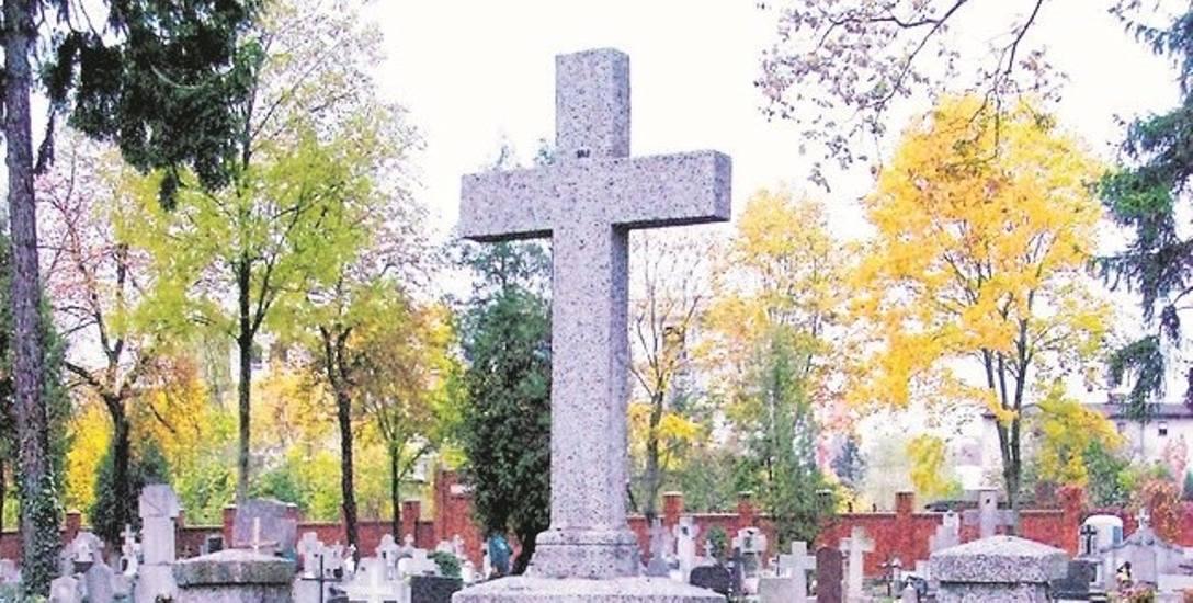 """Ten bezimienny, wieloelementowy grób rodzinny znajduje się w sektorze """"J""""  (prawa strona przy głównej alei)."""