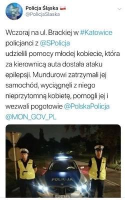 Świętokrzyscy policjanci w Katowicach ratowali kobietę, która dostała ataku padaczki za kierownicą