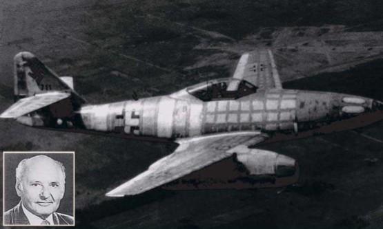 Hans G. Mutke i messerschmitt Me-262, na którym przekroczył barierę dźwięku