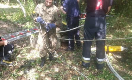 Niewybuchy w Radomiu. Strażacy wyciągali je ze studni przy ul. Marglowej. Potem zabrali je saperzy