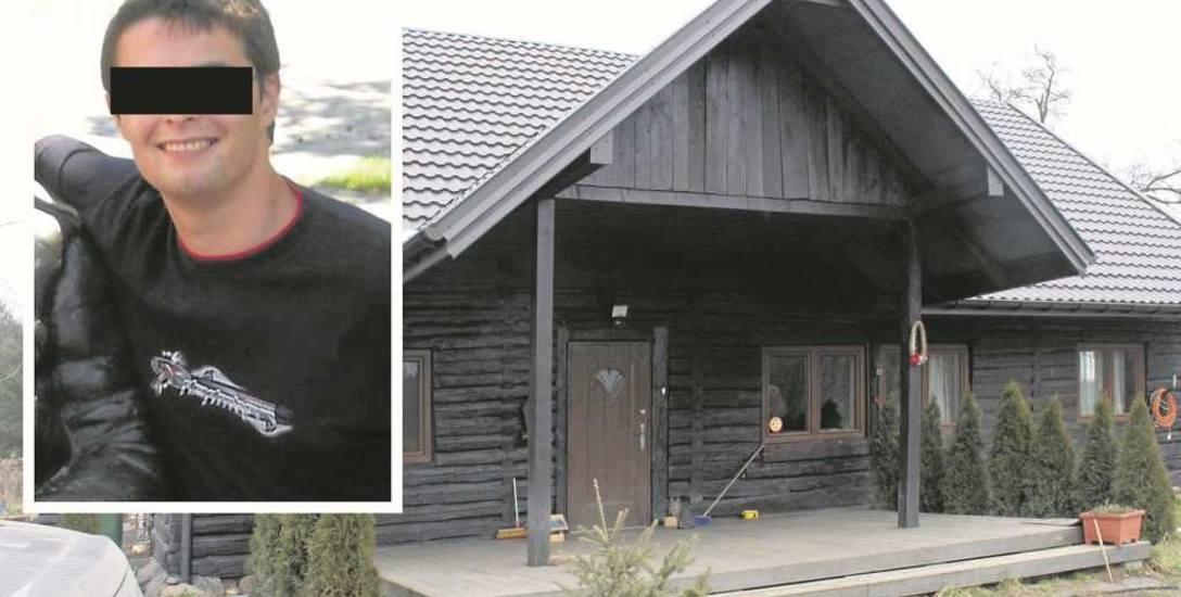 Dom na skraju lasu pod Tarnowem, w którym doszło do incydentu. Na zdjęciu jeden z oskarżonych - Marcin R., zaprzecza zarzutom