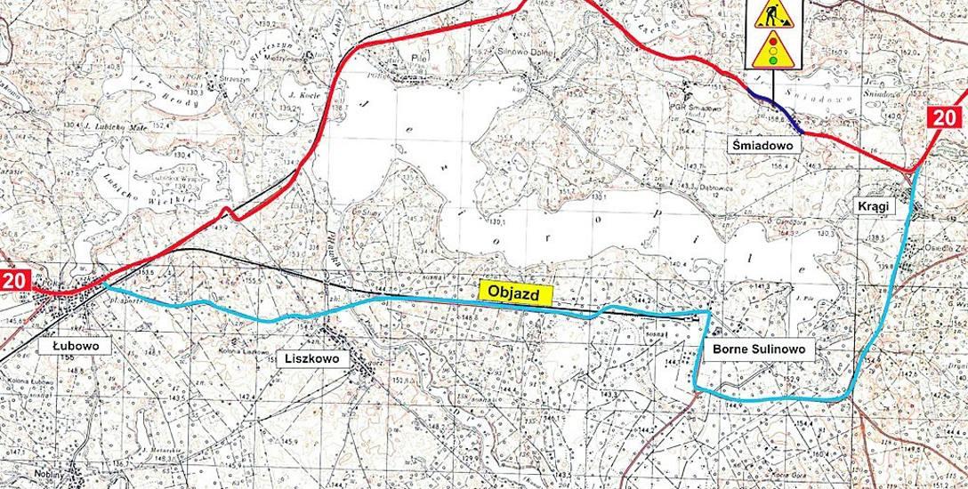 Mapa objazdu na DK20 - ciężarówki przez najbliższe pół roku będą musiały jeździć przez Borne Sulinowo, kierowcy aut osobowych - o ile nie chcą stać na