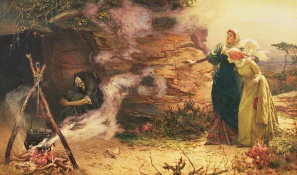 """""""Wizyta u czarownicy"""" na obrazie Edwarda Brewtnalla (1882 rok)"""