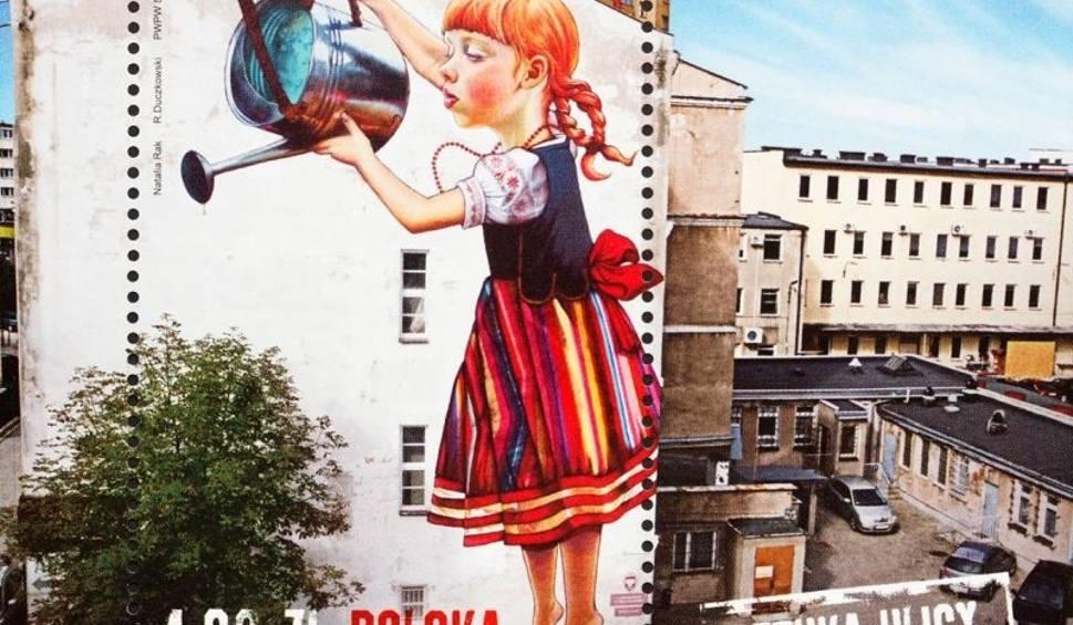 Dziewczyna z konewk na budynku instytutu chemii znowu for Mural bialystok dziewczynka z konewka