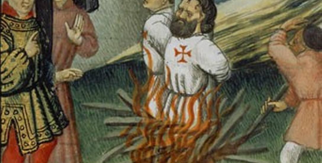 Spalenie Jakuba de Molay na Ile-des-Javiaux (miniatura z XIV w.)