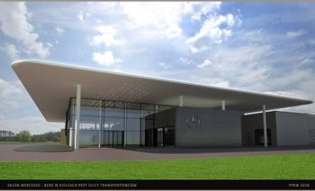 Kolejny salon samochodowy budowany jest w Kielcach. Tym razem dla marki Mercedes (WIZUALIZACJE)