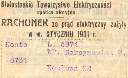 Rachunek za prąd z 1931 roku
