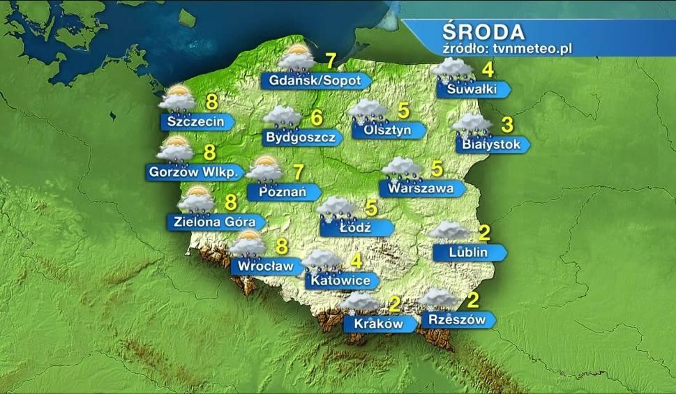 Film do artykułu: Pogoda na 14 kwietnia. Środa zimna z opadami w całym kraju. Na wschodzie możliwy śnieg