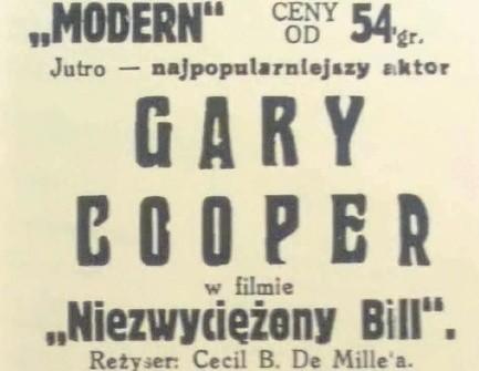 To zapowiedź ostatniego filmu wyświetlanego w Modern w kwietniu 1937 roku