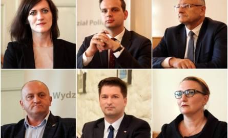 Wybory 2018. Kandydatki i kandydaci na prezydenta Lublina. Od góry, z lewej strony: Magdalena Długosz, Jakub Kulesza, Krzysztof Żuk. Na dole, od lewej: