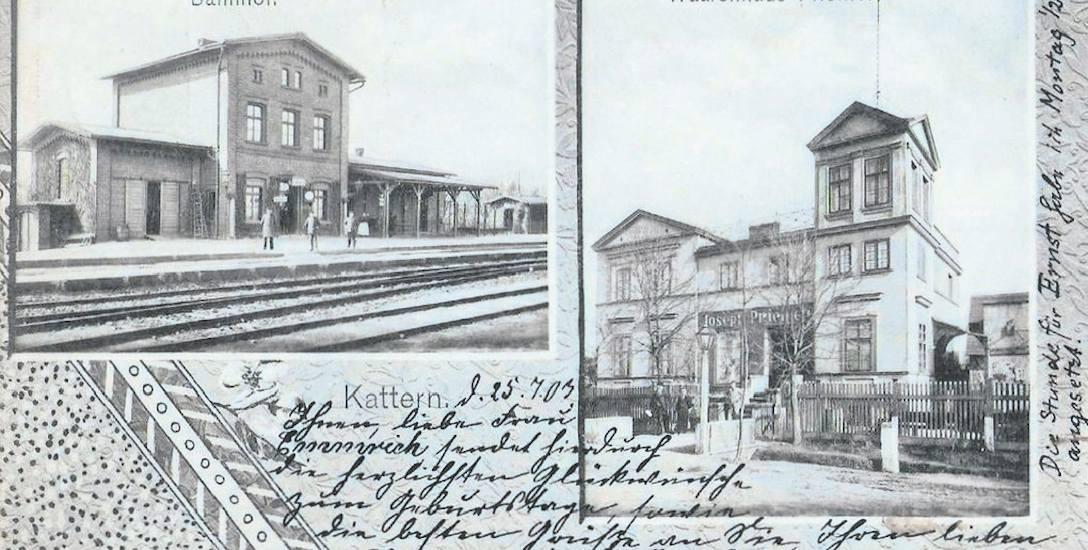 Dworzec kolejowy w Świętej Katarzynie w 1903 roku. Moi prapradziadkowie przyjechali tu w 1923
